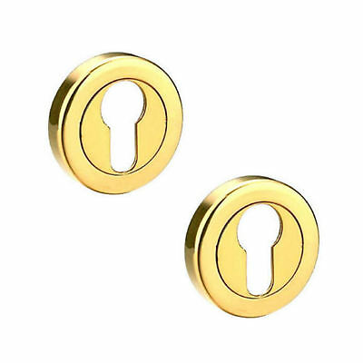 Polished Brass Escutcheons EURO Profile Door Keyhole Covers Shiny Finish Pair of
