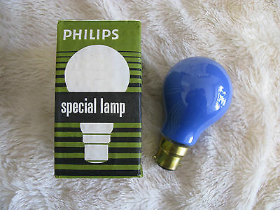 5x Blue Philips 40W B22 BC Bayonet Lamp Light Bulb 240V Old Style Brass Cap