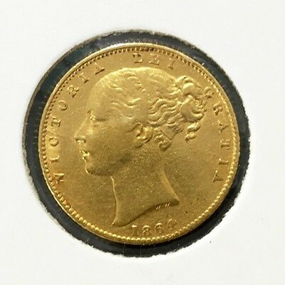 1864 Full Sovereign Queen Victoria Young Head Shield Back Die 85 VF++