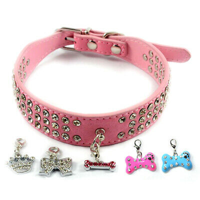 Dog collar - Bling Rhinestone Dog Puppy Pet Collar with Charm Tag Pink XS S M L