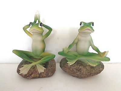 """Frog Yoga Figures Two Poses Resin 5""""h New"""