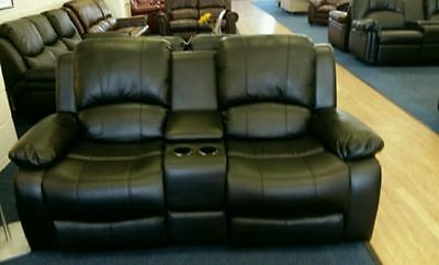 NEW LUXURY MIAMI 2 Seater Recliner Sofa With Cinema Console