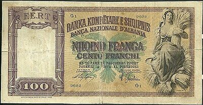 Albania banknote 100 franchi franga 8 currency note paper money F.E.R.T