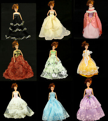 Lot 15 Items 5 Pcs Handmade Dresses and Clothes 10 Shoes For Barbie Doll