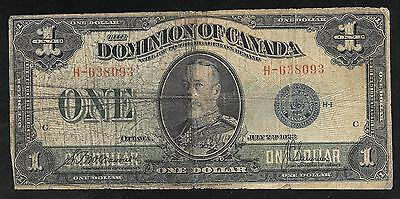 Dominion of Canada Paper Money - Old 1 Dollar Note - 1923 - P33c - Good
