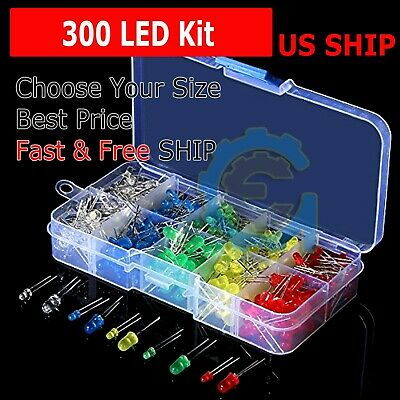300 pcs 3mm 5mm LED Light White Yellow Red Green Assortment Kit for Arduino
