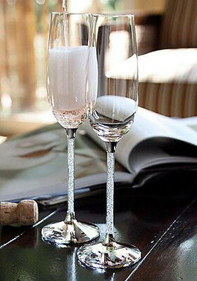 Crystal Wedding Champagne Flutes, Set of 2 Glasses