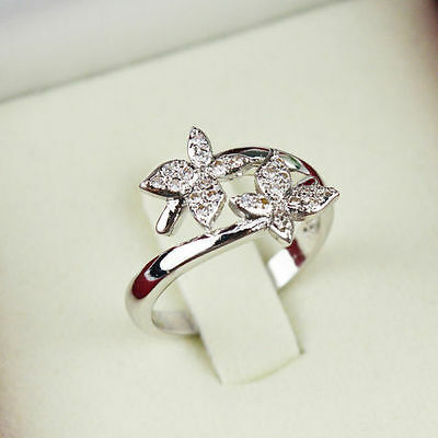 Butterfly Opening Ring Rings Women Adjustable Gift Charm Size 6 Rhinestone