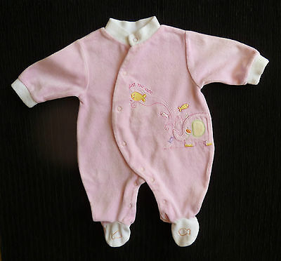 Baby clothes GIRL newborn 0-1m Just Too Cute pink velour elephant/fish babygrow