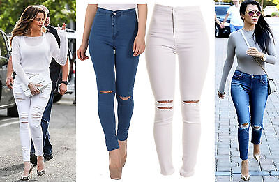 Womens Girls Celeb Inspired Cheap High Waisted Ripped Skinny Fashion Jeans 6-16