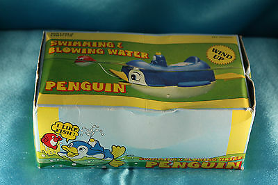 Vintage ❀1983 Swimming Pool Water Toy Windup Penguin w/ Box Works!