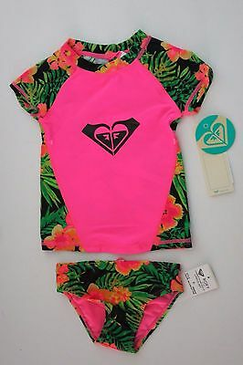 Roxy 4 Girls Hawaiian Pink 2 Pc Rash Guard Tankini Bikini Swimsuit Set UV
