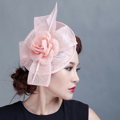 Derby Sinamay Flower Rose Fascinator Hat Cocktail Headband Clip Wedding Party