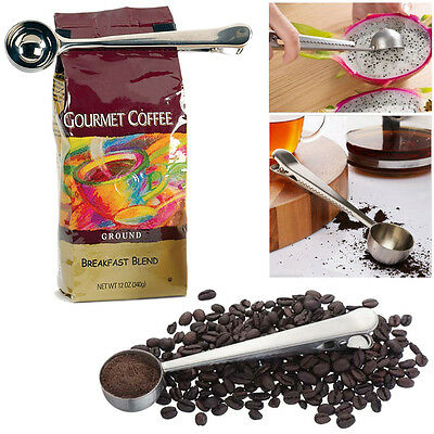 1 cup Ground Coffee Measuring Stainless Steel Spoon Scoop With Bag Sealing Clip