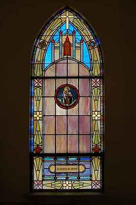 + Old Church Stained Glass Window + Our Lady Mt. Carmel + Shipping available