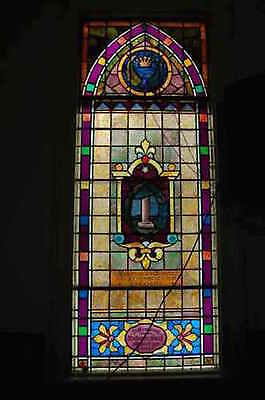 "+ Nice Antique 100 yr. Old Church Stained Glass Window ""Column"" +Beautiful+"