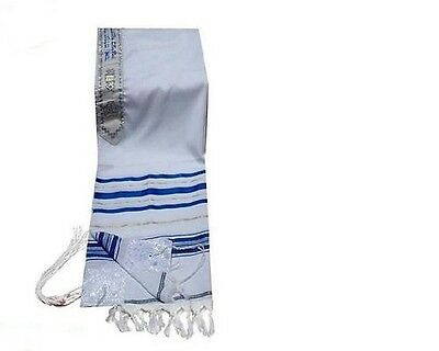 "Kosher Tallit Talis Prayer Shawl acrylic 8""X40"" Made in Israel blue and gold"