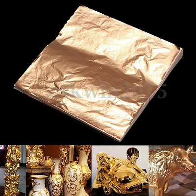 100 Sheets Anti-moisture Copper Leaf Foil Paper For Gilding Art Craft 14x14cm