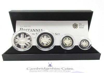 2011 fine silver proof four coin Britannia set box coa Royal mint
