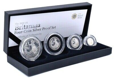 2008 fine  silver proof four coin Britannia set box coa Royal mint