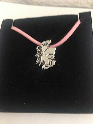 Map Of Scotland R25 Pewter Pendant on a PINK CORD Necklace