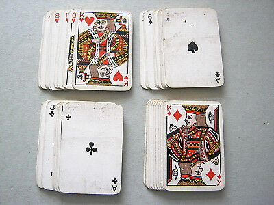 Playing Cards Antique Gilded Edged Patience Deck In Stitched Case 1900 - 1910