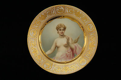 Royal Vienna Porcelain Nude Woman Portrait Cabinet Plate 100% Hand Painted