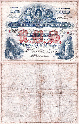 1921 £1 The Royal Bank of Scotland issued note; gFine. No Holes & No Tears