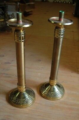 "+ Pair of solid bronze Excelsis Altar Candlesticks + 18 1/4"" ht. + chalice co. +"