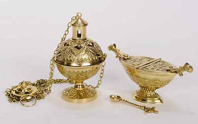 + Nice Traditional Brass Censer (Thurible) with Boat & Spoon (#134 + #69)