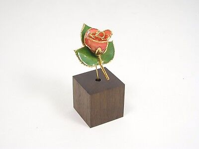 """3"""" 24k Gold Dipped Pink Rose in Walnut Stand (Free Anniversary Gift Box)"""