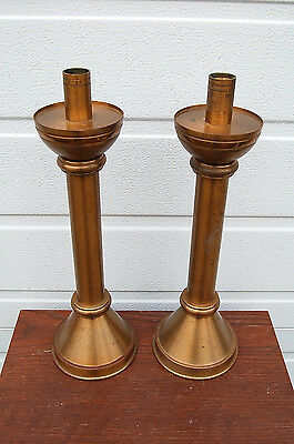 """+ Pair of Bronze Altar Candlesticks + 14"""" ht. + + (#820) + + chalice co."""