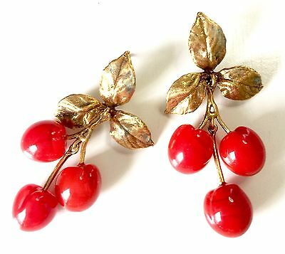 Morello Cherry Earrings by Michael Michaud, Silver Seasons, 24kt Gold w/Red Jade