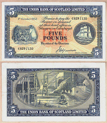 1953 £5 Union Bank of Scotland Limited issued note