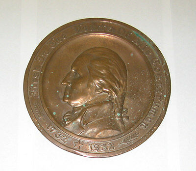 Gorham Metal PLATE / PLAQUE -  FGUC  8in  Geo Washington 1732-1932 Am Mutual Ins