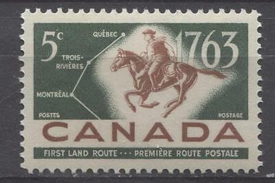 Canada #413 5c Green And Red Brown 1963 Postrider And Map VF 84 NH