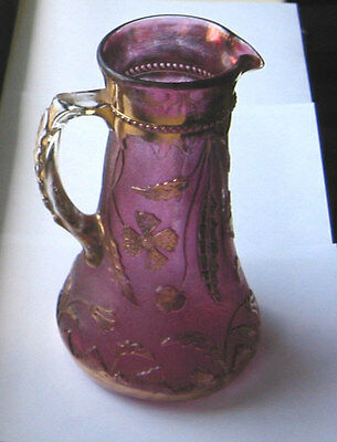 US Glass  WATER PITCHER  /  TANKARD - FGC  Delaware rose + gilt  9.5in