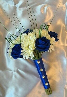 Artificial Flowers Ivory Royal Blue Rose Gerbera Wedding Bridesmaid Bouquet