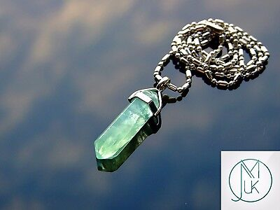 Green Fluorite Crystal Point Pendant Natural Gemstone Necklace Healing Stone