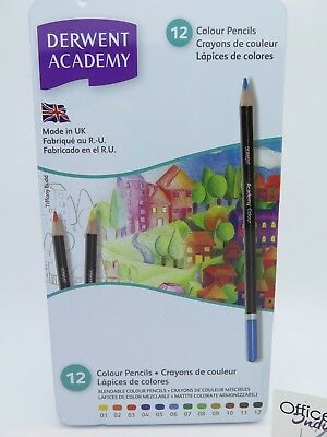 12 Pack Derwent Academy Colour Pencil Break Resistant 2301937*