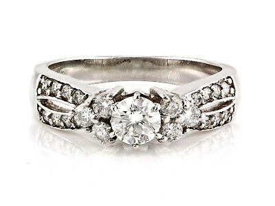 0.82ct G-SI2 Round Diamond in 14K White Gold Solitaire with Accent Ring - Size 7