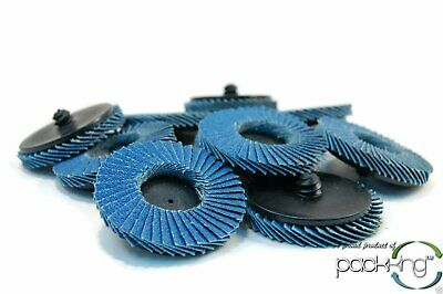 "(10pk) 2"" Inch 80 Grit Flap Sanding Disc Wheels Type R Roloc Threaded Twist Lock"