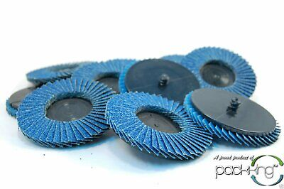 "(10pk) 3"" Inch 60 Grit Flap Sanding Disc Wheels Type R Roloc Threaded Twist Lock"