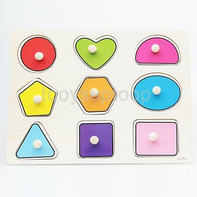 Wooden Peg Puzzle Geometric Shapes Young Children Toddler Learning Toy