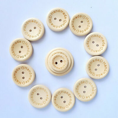 50PCS Handmade Wooden Buttons 2 Holes Butterfly Round Love Sewing DIY