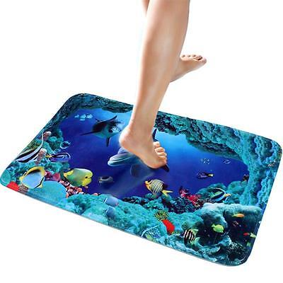 Unique Ocean World Flannel Foam Pad Bathroom Non Slip Rug Bath Mat Carpet