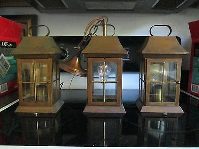 Matched Set Of 3 Arts & Crafts Style Brass Lights 2 Wall Mount 1 Hanging
