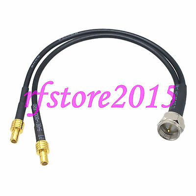 Cable RG174 6inch F TV male plug to 2x SMB male plug straight RF Pigtail Jumper