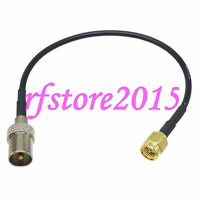 Cable RG174 6inch IEC PAL DVB-T male plug to SMA male plug RF Pigtail Jumper
