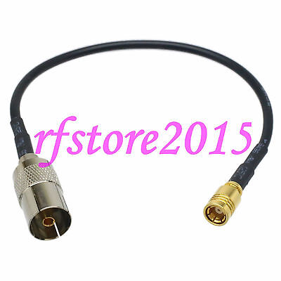Cable RG174 8inch IEC PAL DVB-T female jack to SMB female jack RF Pigtail Jumper